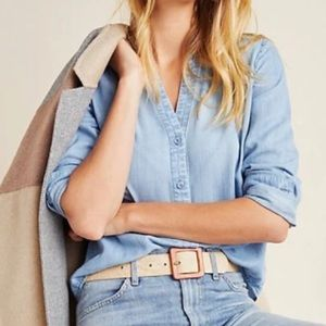 Cloth & Stone Smocked Chambray Button Down